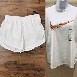 Nike White Tee And Shorts In Size-L